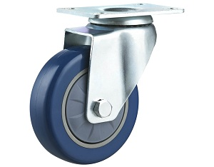 Medium Duty Caster with Blue Polyurethane Wheel